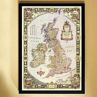 1949 British Isles Map, Framed