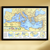 Historic Mediterranean, 800 BC to AD 1500 Map, Framed