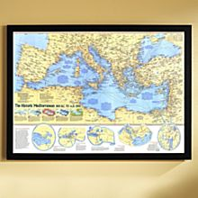 Historic Mediterranean, 800 BC to AD 1500 Map, Framed