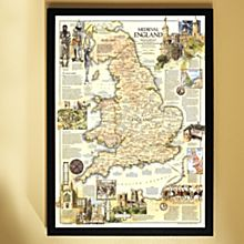 1979 Medieval England Map, Framed, 2011