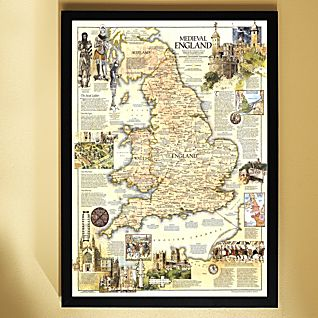 View 1979 Medieval England Map, Framed image
