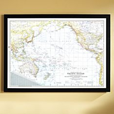 1942 Theater of War in the Pacific Ocean Map, Framed, 2011