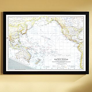 View 1942 Theater of War in the Pacific Ocean Map, Framed image