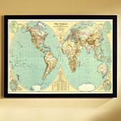 1935 World Map, Framed