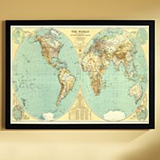 1935 World Map, Framed