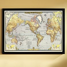 World Map in Frame on Wall