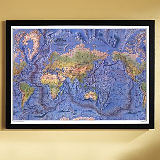 View 1981 World Ocean Floor Map, Framed image