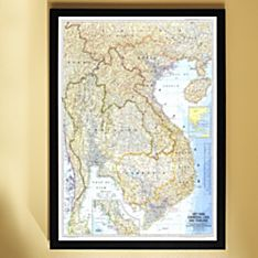 1967 Vietnam, Cambodia, Laos, and Thailand Map, Framed, 2011