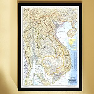 1967 Vietnam, Cambodia, Laos, and Thailand Map, Framed