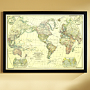 1922 World Map, Framed