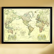 Political World Map Framed