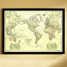 Wall World Map to Frame