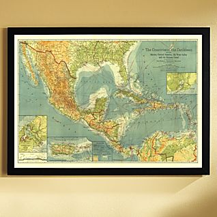 1922 Countries of the Caribbean Map, Framed