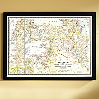 1946 Bible Lands, and the Cradle of Western Civilization Map, Framed