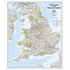 England and Wales Classic Map, Laminated, 2012