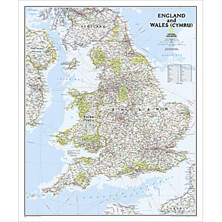 View England and Wales Classic Map, Laminated image