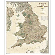 England and Wales Map (Earth-Toned), Laminated, 2012