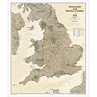 View England and Wales Map (Earth-toned), Laminated image