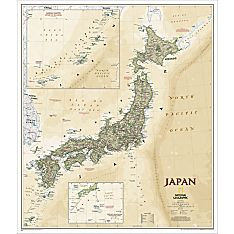 Japan Map (Earth-Toned), Laminated, 2012