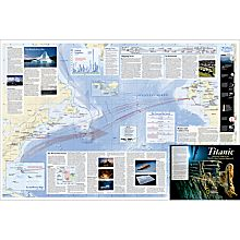 Titanic 100th Anniversary Wall Map, Laminated