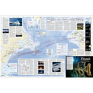 Titanic 100th Anniversary Map, Laminated