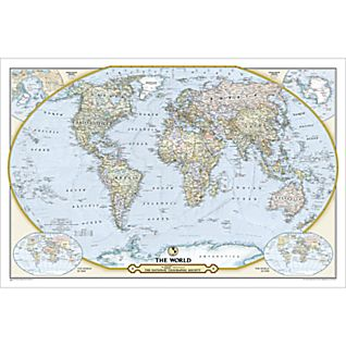 NGS 125th Anniversary World: 2-sided Wall Map