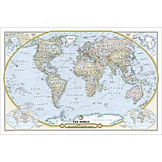 NGS 125th Anniversary World: 2-sided Wall Map, Laminated