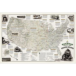 National Geographic Railroad Legacy Map of the United States