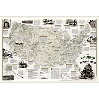 Railroad Legacy Map of the United States - Boxed