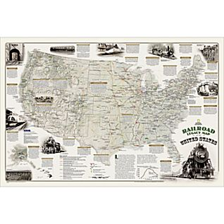 View National Geographic Railroad Legacy Map of the United States, Laminated image