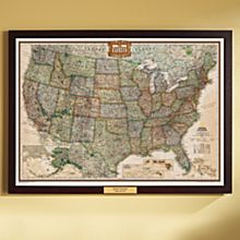 U.S. Political Wall Map (Earth-Toned), Poster Size and Framed with Personalized Plaque