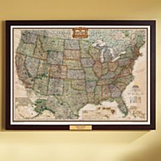 U.S. Political Map (Earth-toned), Poster Size and Framed with Personalized Plaque