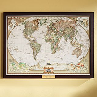View World Political Map (Earth-toned), Poster Size and Framed with Personalized Plaque image