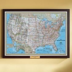 U.S. Political Wall Map (Classic), Poster Size and Framed with Personalized Plaque