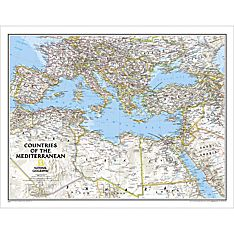 Countries of the Mediterranean Classic Wall Map, Laminated