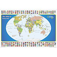 Laminated World Map with Nations