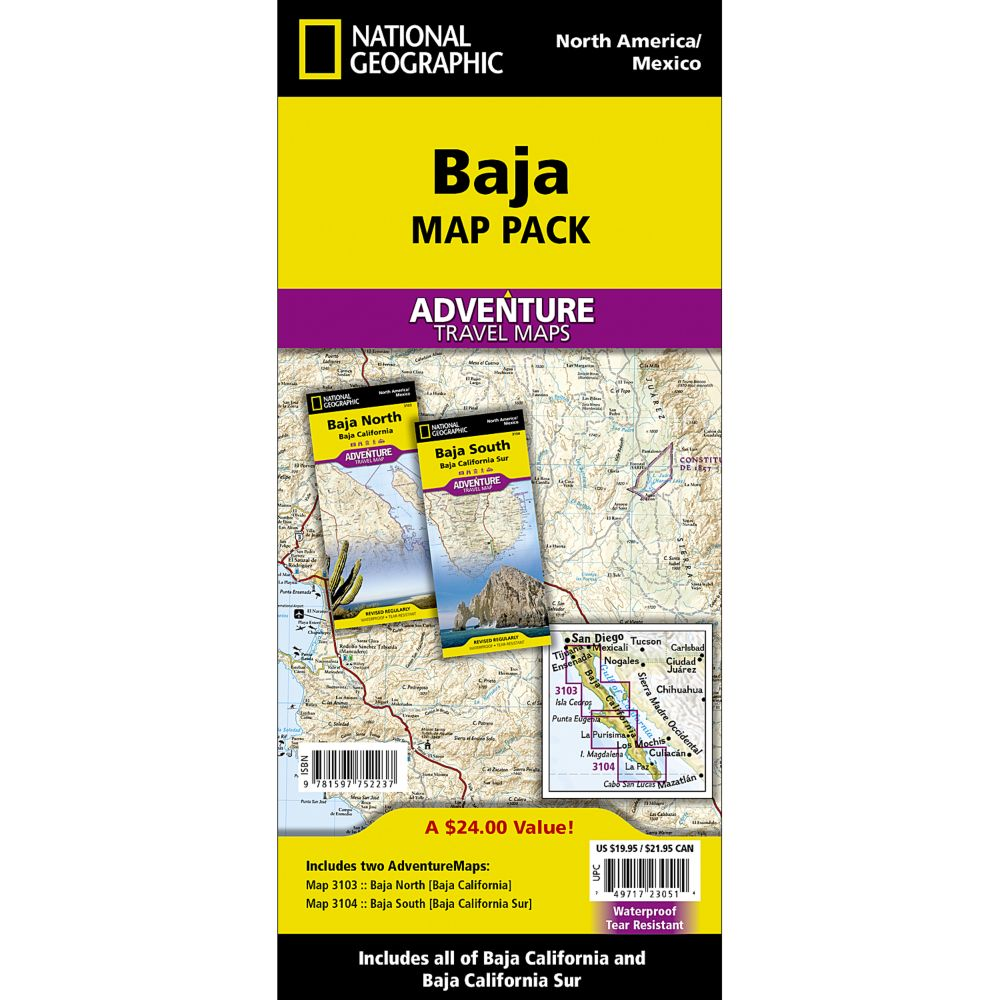 photo: National Geographic Baja California Adventure Map Pack international paper map