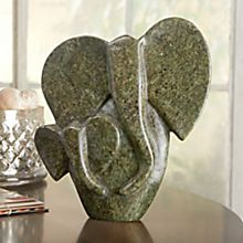 Hand-Carved African Shona Elephant Sculpture