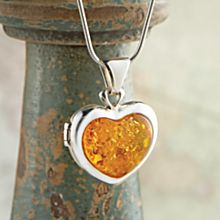 Hand-Crafted Baltic Amber Heart Locket