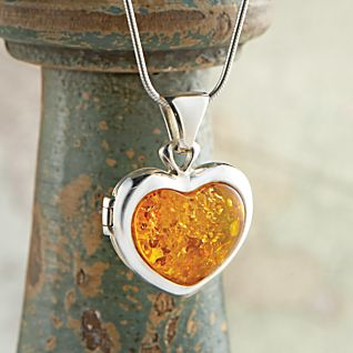 View Baltic Amber Heart Locket image