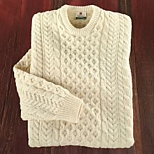 Men's Traditional Irish Aran Sweater, Made in Ireland