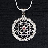 Silver & Garnet Mandala Necklace