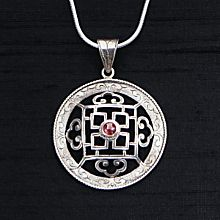 Hand-Crafted Silver and Garnet Mandala Necklace