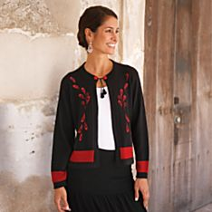 Womens Black Travel Wear Cardigan