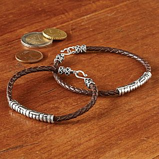 View Men's Silver and Leather Bracelet image