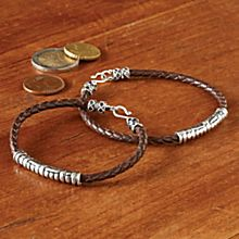 Women's Silver and Leather Bracelet, Made in Indonesia