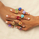 Javanese Flora Beaded Rings
