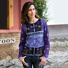 Hand-Painted Violet Peruvian Alpaca Sweater