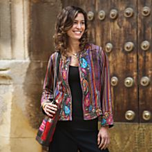 Handcrafted Silk Paisley and Stripe Jacket