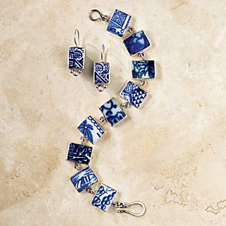 Blue Willow Ceramic Earrings